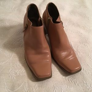 """Leather upper shoe boots with 2 1/2"""" heel"""